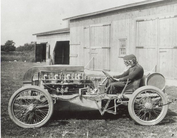 an innovative machine showcased in the 1906 american elimination trial was the unique air cooled frayer miller entry with designer lee frayer at the wheel