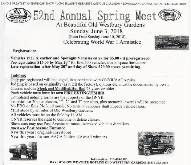 Old Westbury Gardens Events: AACA Greater NY Region 52nd Annual