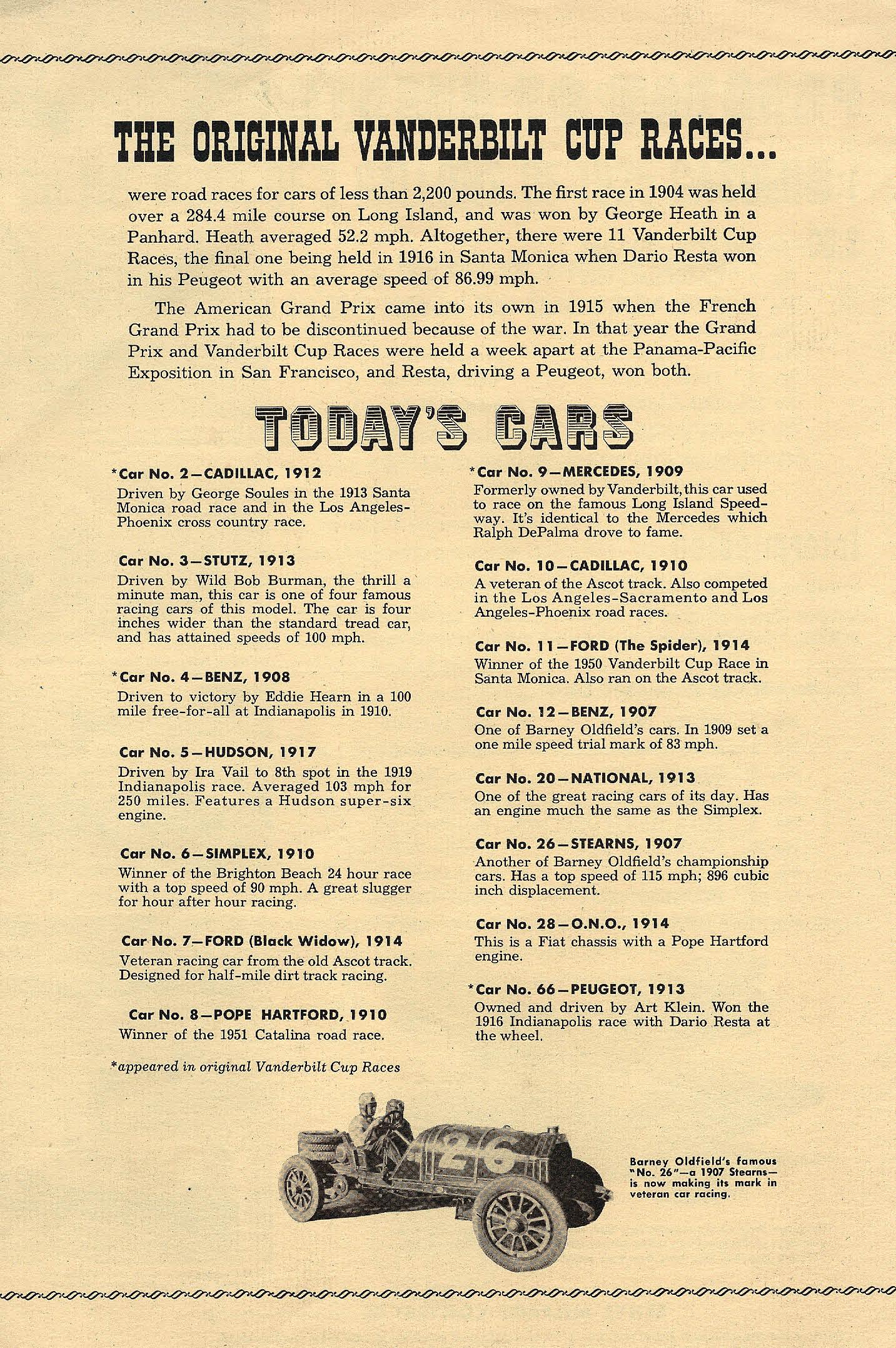the 1952 Veteran Car Race